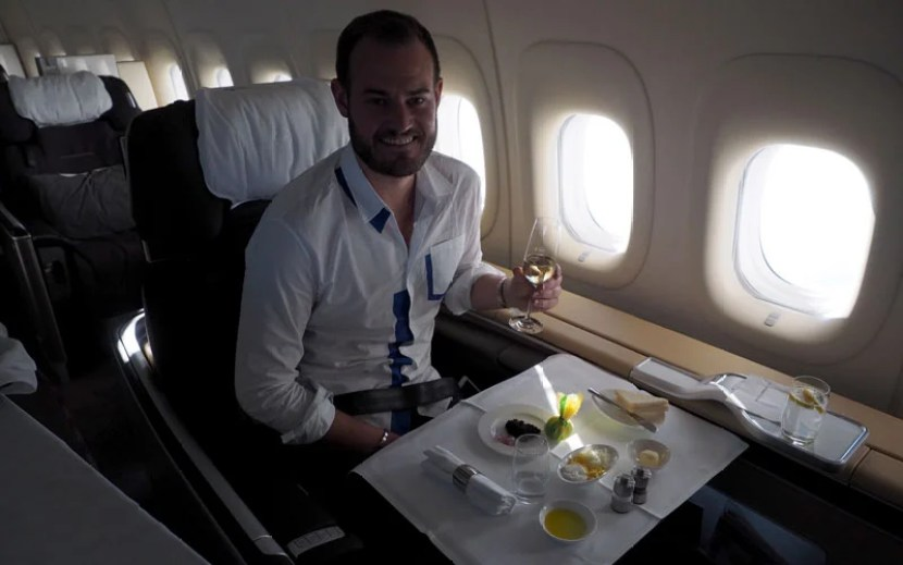 Enjoying a snack on the 747-8, perhaps my favorite of all aircrafts!