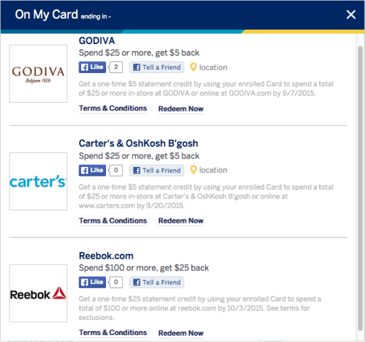 Amex offers on Facebook