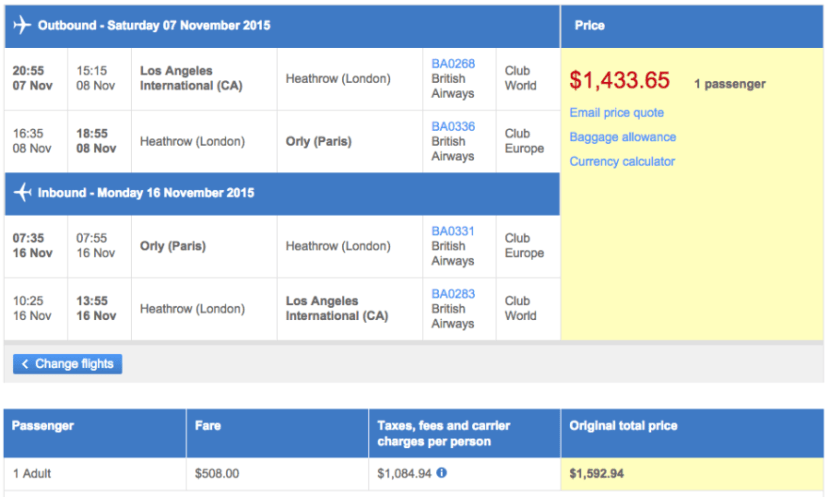 Los Angeles (LAX) to Paris (ORY) in business class on British Airways for $1,434.