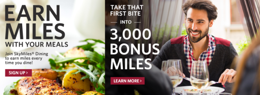 Dining out is another great way to earn bonus Delta miles.