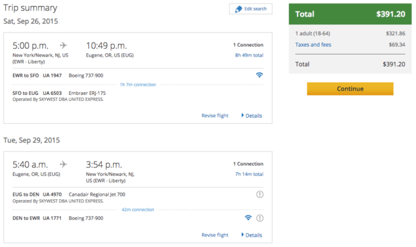 Newark (EWR) to Eugene, OR (EUG) for $391 in First Class on United.