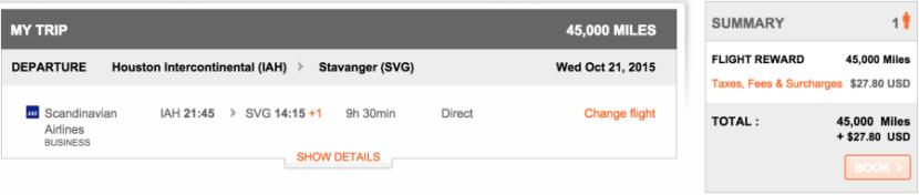 Houston to Stavanger for 45,000 Aeroplan miles.