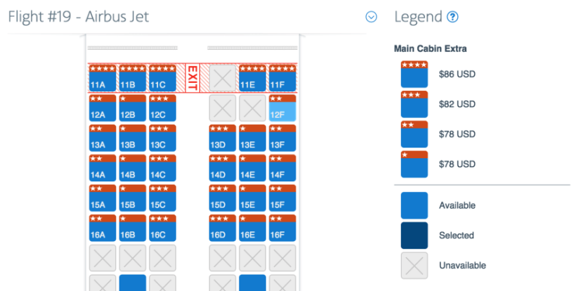 Prices for Main Cabin Extra can vary, but prices tend to range between $67 and $86 on this route.