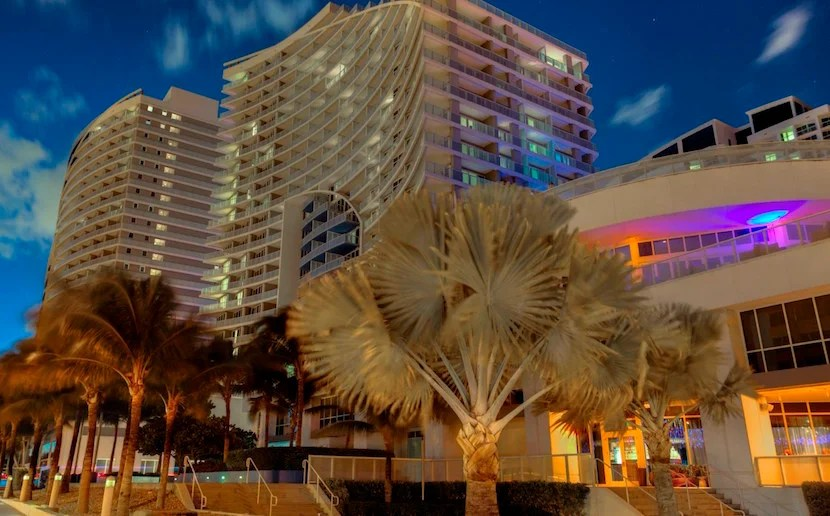W Fort Lauderdale at night. Photo courtesy of hotel.