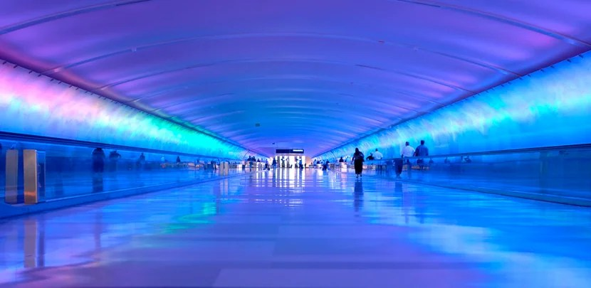 Airport tunnel that glows. 12MP camera. Detroit Metro International Airport.