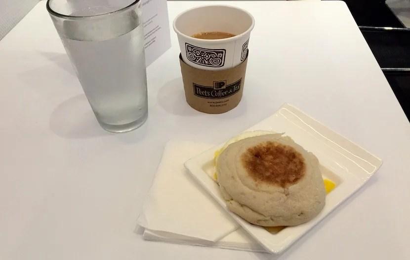 My $10 credit got me a breakfast sandwich. The Peet's Coffee was free.