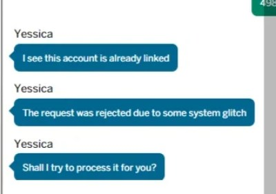 Yessica found a glitch and offers to process the transfer.