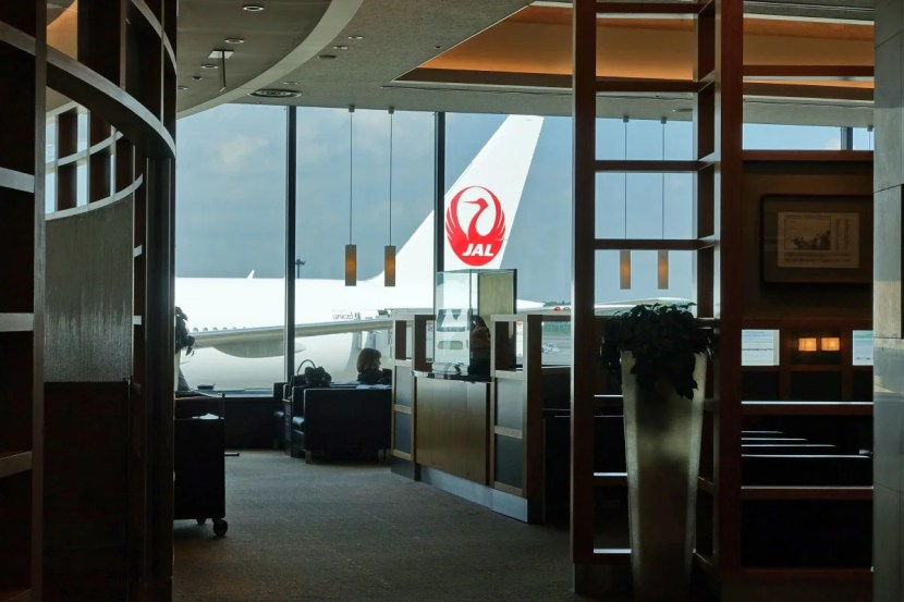 JAL tail from the Admirals Club.