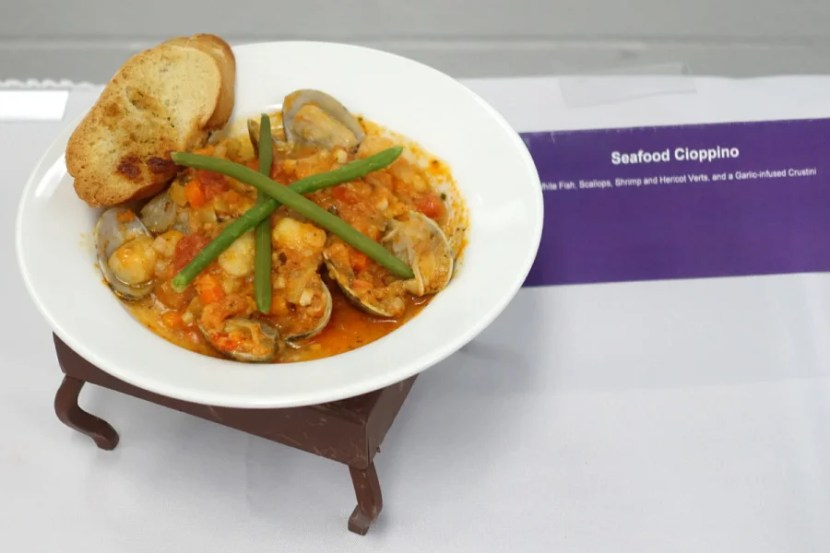 Seafood cioppino with fish, scallops and shrimp.