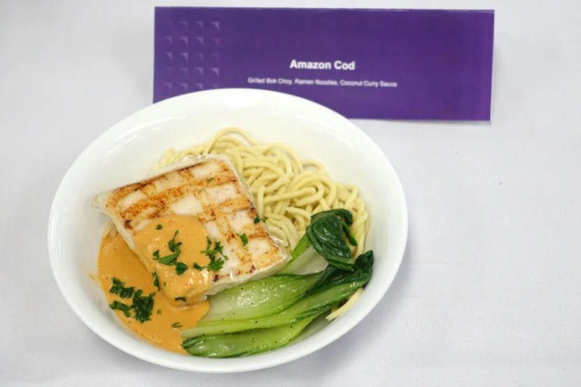 Amazon cod with bok choy and noodles.