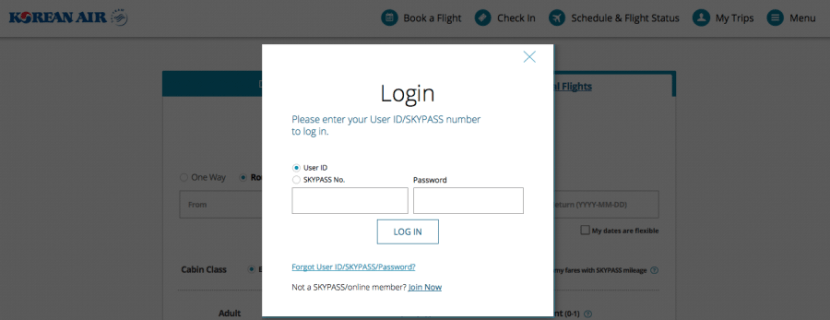 Korean Air login