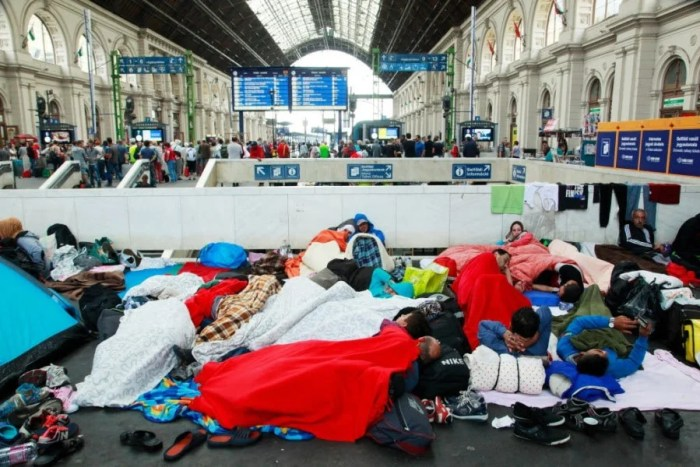 Syrian refugees camping out at the Keleti Railway station in Budapest, Hungary