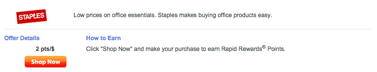 Staples is one of hundreds of retailers on Rapid Rewards Shopping.