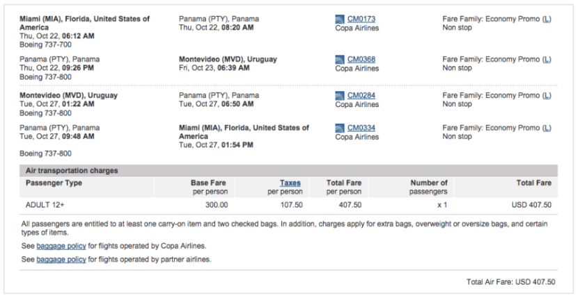 Miami (MIA) to Montevideo (MVD) for $408 on Copa.