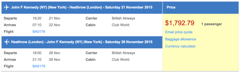 New York (JFK) to London (LHR) in business class on British Airways for $1,793.