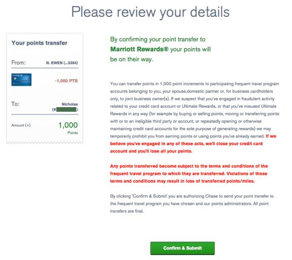 UR to Marriott confirm