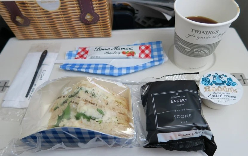 The arrival meal came in a picnic box styled box. The sandwich was about as good as it looks.