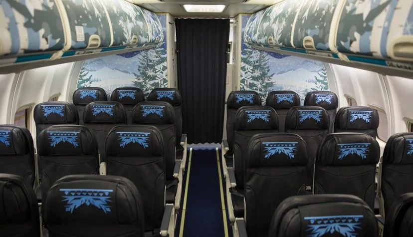 "The interior of WestJet's ""Frozen"" plane."