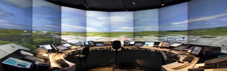 During training, potential ATCs must first practice their jobs viasimulators like these. Photo courtesy of Halldale Group.