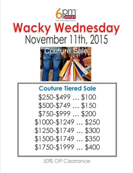 Wednesday is the wackiest day of the week here, with themed sales of 50% or less.