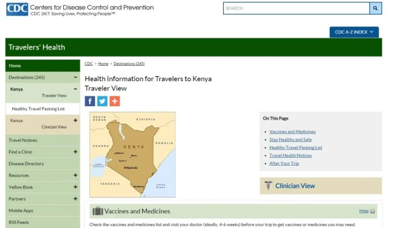 The CDC website recommends vaccines for visiting Kenya.