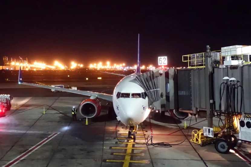 Our SAS 737 at the gate in Newark.