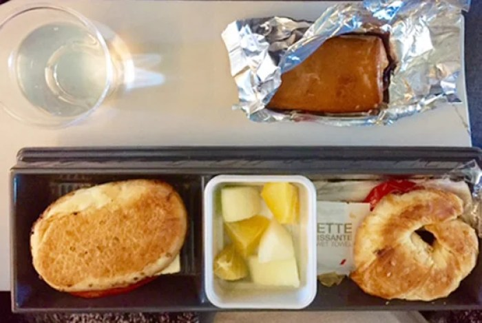 On Air France, a mere three-hour flight gets you breakfast — a carb-y breakfast, but still.