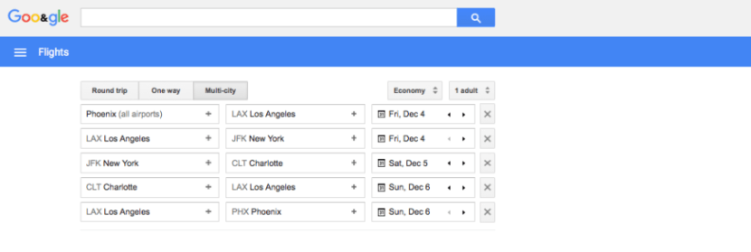 Google Flights PHX