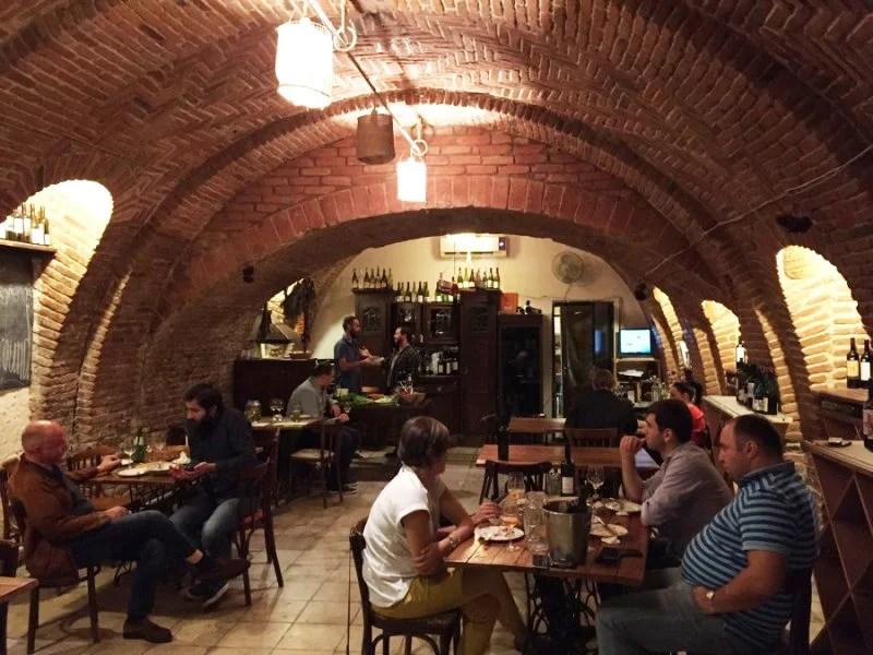 The intimate and unique dining/wine tasting area at Vino Underground.