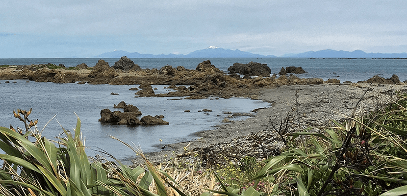 From The Bach you can see the South Island's mountains on a clear day. Image by the author.