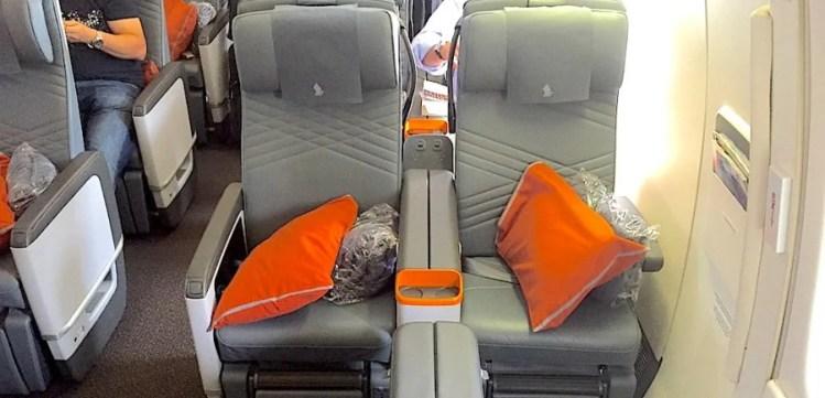 Singapore Airlines Premium Economy bulkhead seats.