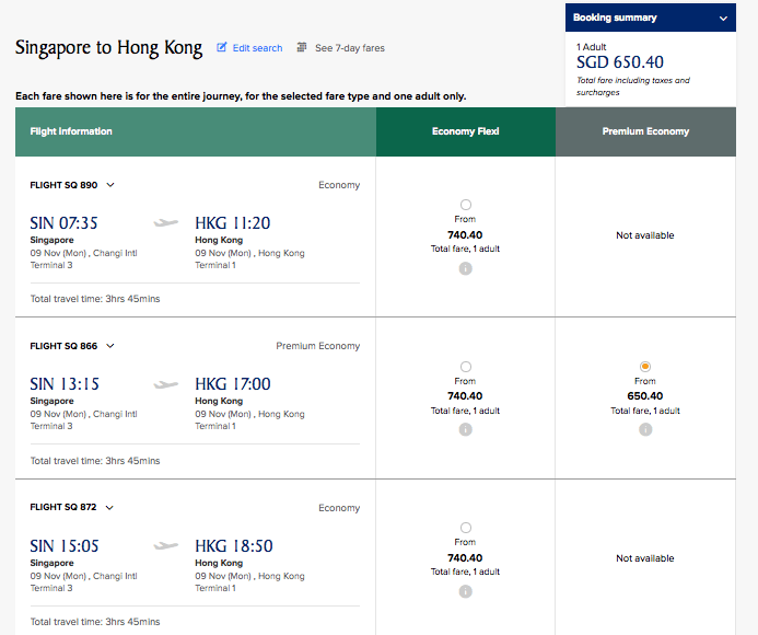 The pricing for one-way flights from Singapore-Hong Kong.