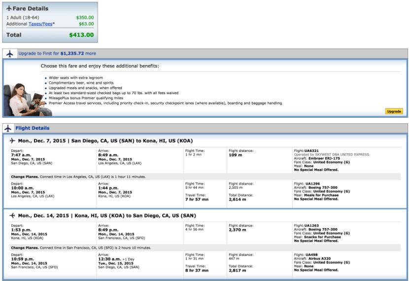San Diego to Kona for $413.