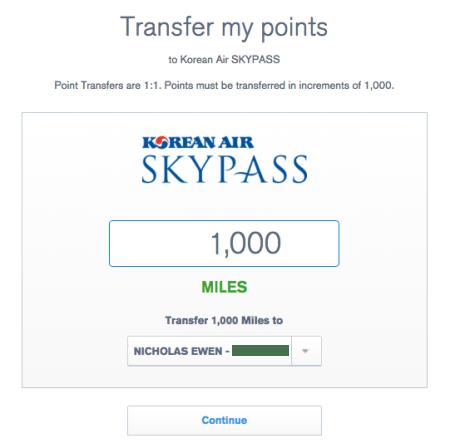 UR transfer to KE