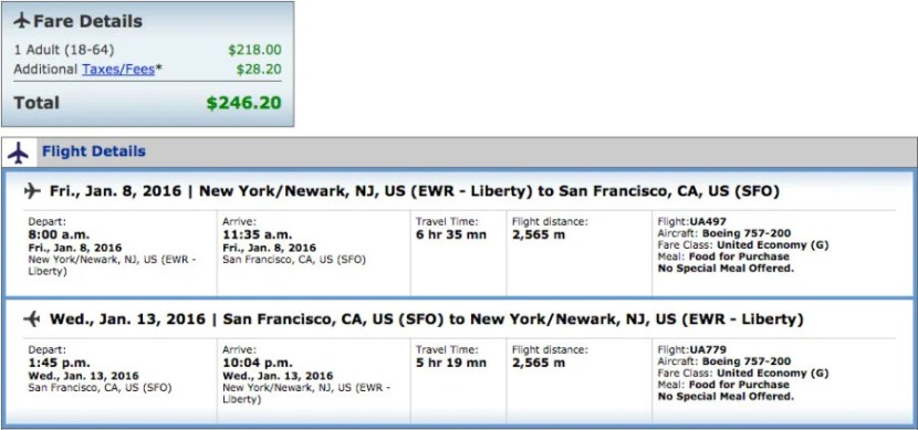Newark (EWR) to San Francisco (SFO) for $246 Round-Trip on United.