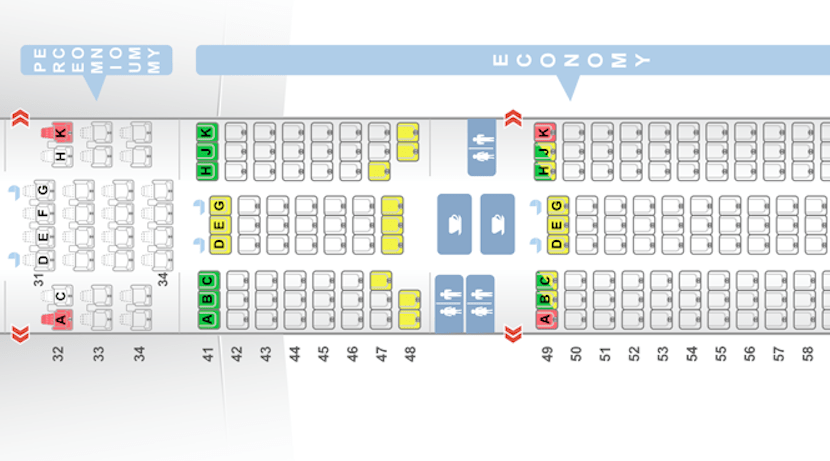 The seatmap of premium economy versus economy on the 777-300ER.