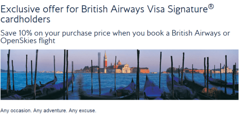 British Airways Chase Visa 10 off