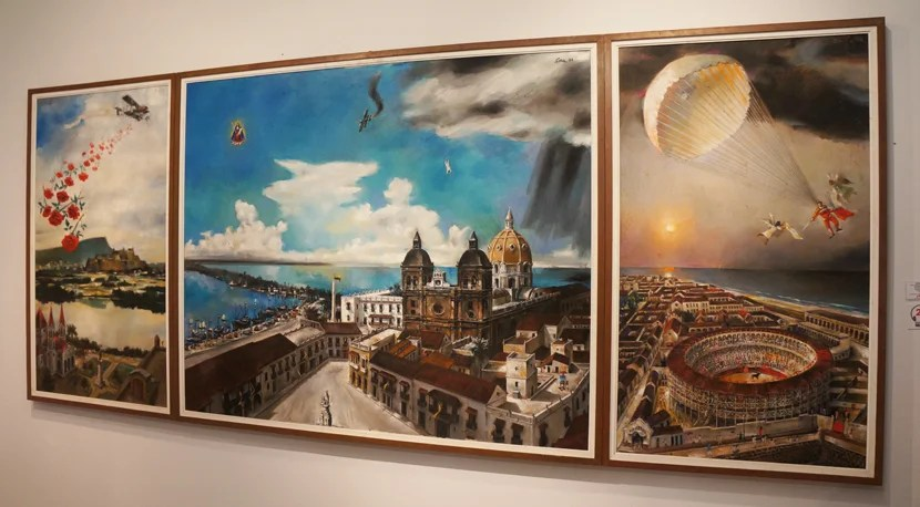 """Panoramica de Cartagena"" painted throughout the 1990s by Enrique Grau, Cartagena's most famous artist."