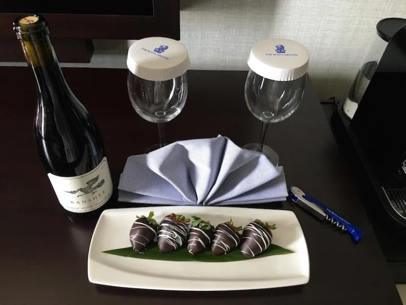 The Ritz sent us a welcome amenity of chocolate covered strawberries and red wine.