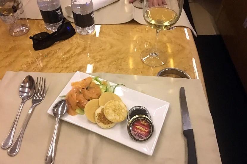 Caviar ... on a domestic flight!