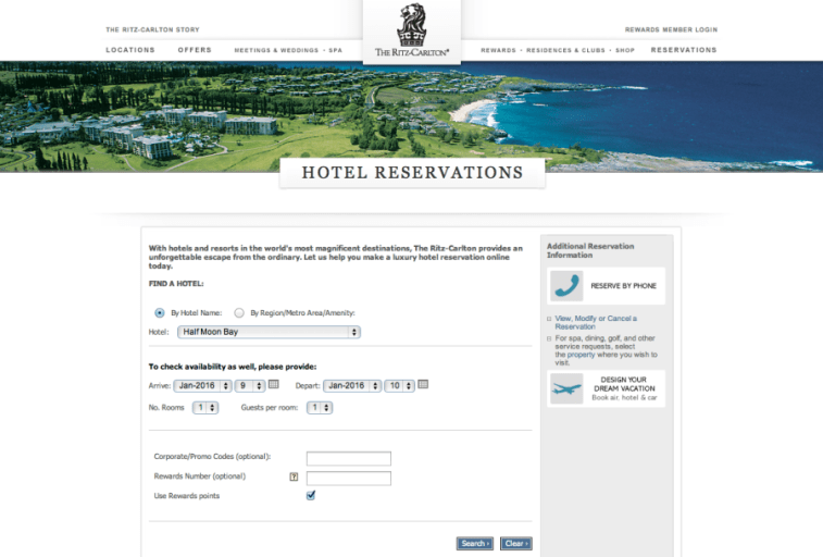 Ritz reservation search