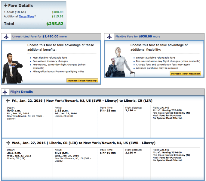 Newark (EWR) to Liberia, Costa Rica (LIR) for $296 on United.