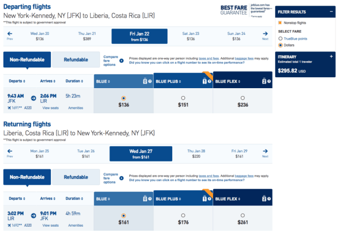 New York (JFK) to Liberia, Costa Rica (LIR) for $296 on JetBlue.