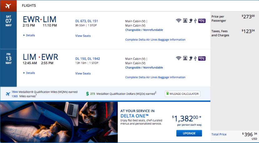 Newark (EWR) to Lima, Peru (LIM) for $396 on Delta.