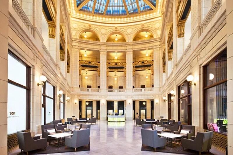 The Aloft Detroit David Whitney's striking atrium.
