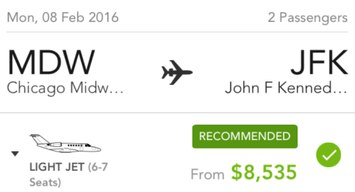 An example one-way trip on a Victor jet from Chicago (MDW) to New York-JFK.