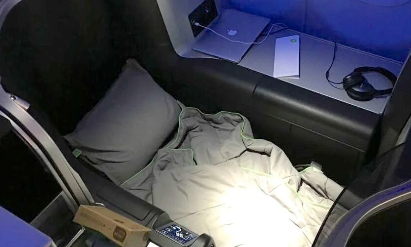 TPG's lie-flat seat on his flight to California.