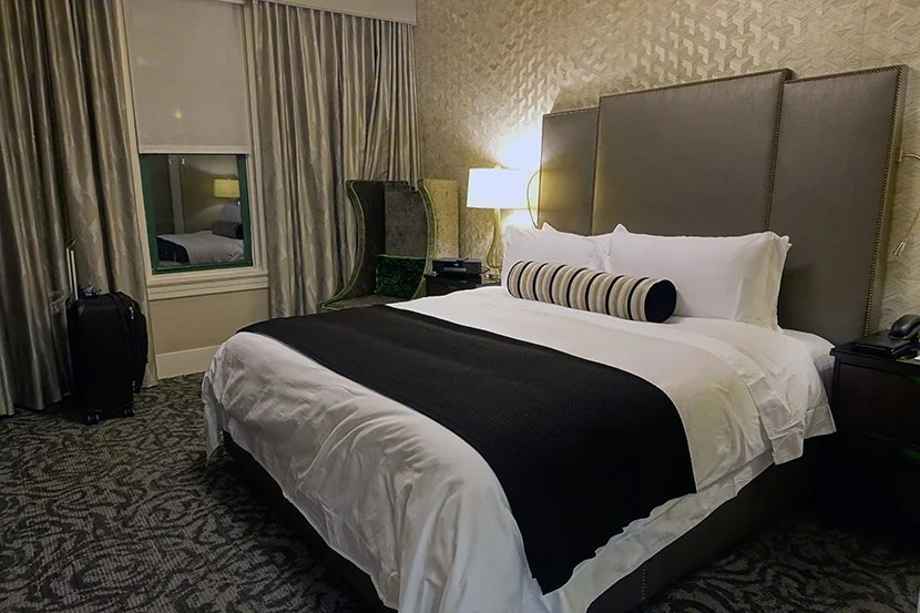 The suite featured a spacious bedroom with attractive decor.