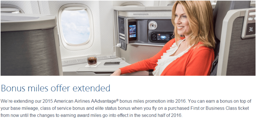 AA Bonus Miles for First and Business class promo extended