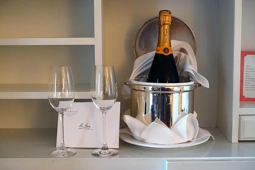 A full-size bottle of Veuve Clicquot Champagne: a wonderful gift that was perfect for New Year's Eve.